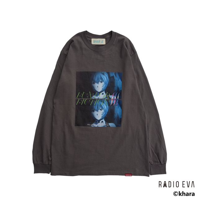 Ayanami (Why don't you just try smiling?) L/S Tee (CHACOAL)  /  RADIO EVA