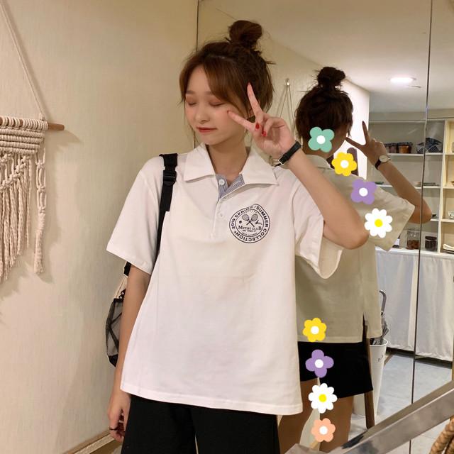 【tops】カジュアル半袖着痩せpoloネックプリント合わせやすいTシャツ