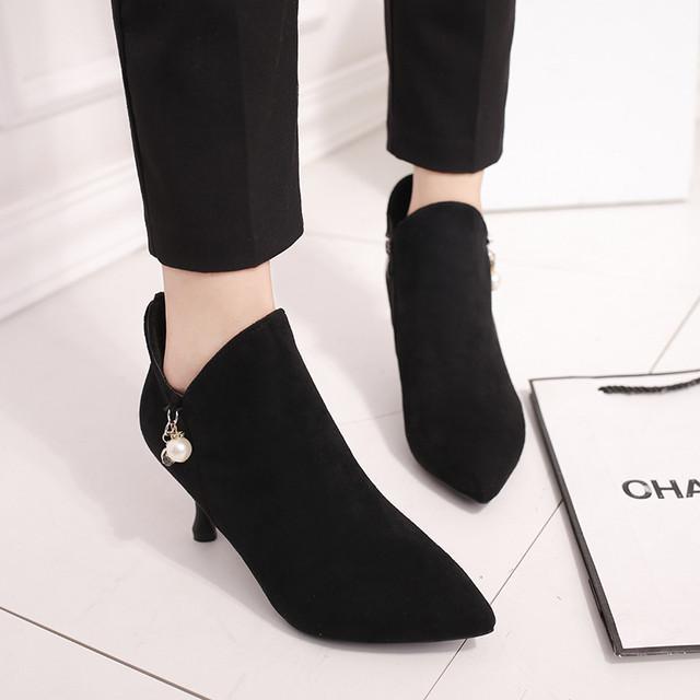 【shoes】気質抜群ビーズ飾りファスナーブーツ