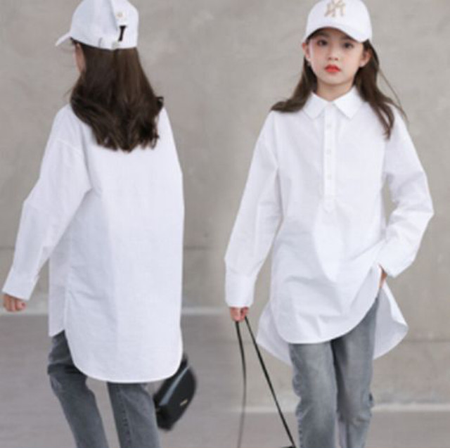 120~M ★ シャツ 長袖 襟付き 親子 レディース アシンメトリー
