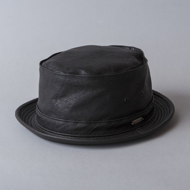 "leather porkpie hat ""PIKEY"""