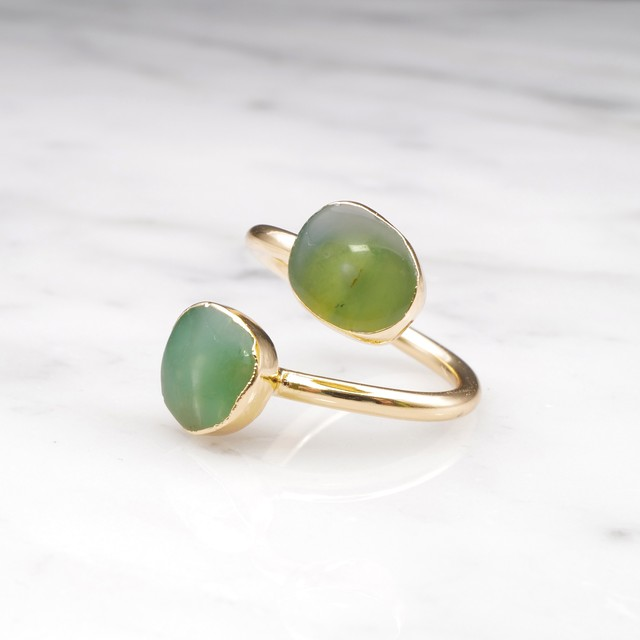 DOUBLE CHRYSOPRASE OPEN RING 01