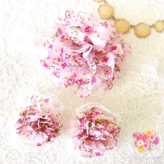 小花柄フラワー×レース ベアフットサンダル(ベビーピンク)ベビー用 足飾り