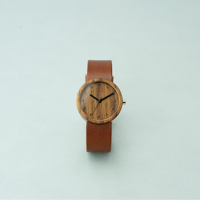 Walnut wood - Organic leather Dark Brown - M