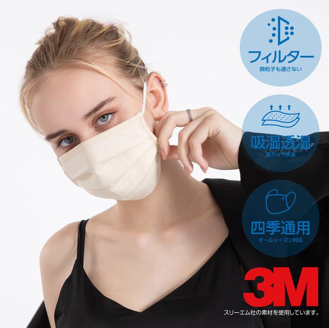 【3M社素材使用】4層構造「ナノ粒子プリーツマスク」2枚入 使い捨てマスクのような見た目で仕事にも気軽に使える