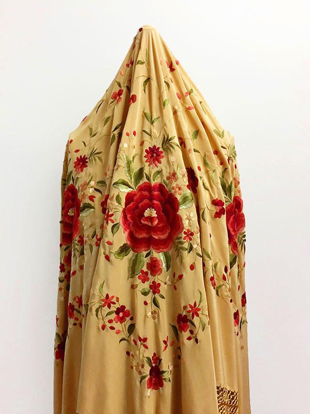 FE-MB_cml 手刺繍シルクマントン キャメル系 スペイン製 ☆現品特価