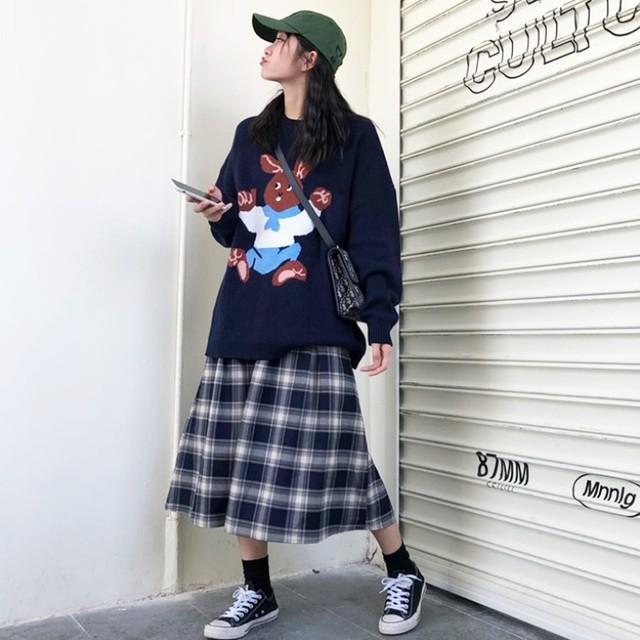 【set】「単品注文」キュートカートゥーン合わせやすいセーター/チェック柄スカート