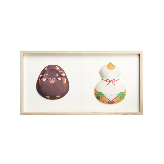 お正月 和紙の縁起物 2種飾り13(干支 丑・鏡餅)F02-013
