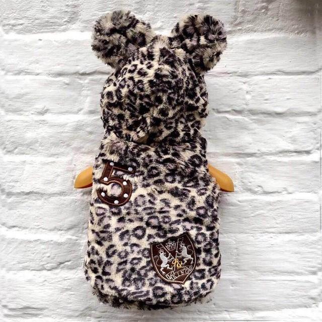 【犬服・ドッグウェア】まあるいお耳付き レオパード柄ボアアウター