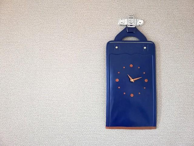 【掛-kakeru- シリーズ】Wall Clock blue(ランドセル×時計)