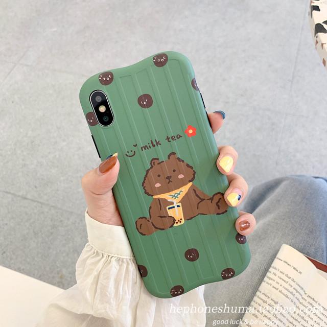 【小物】ins韓国系キュートかわいい熊カートゥーン人気iPhoneスマホケース