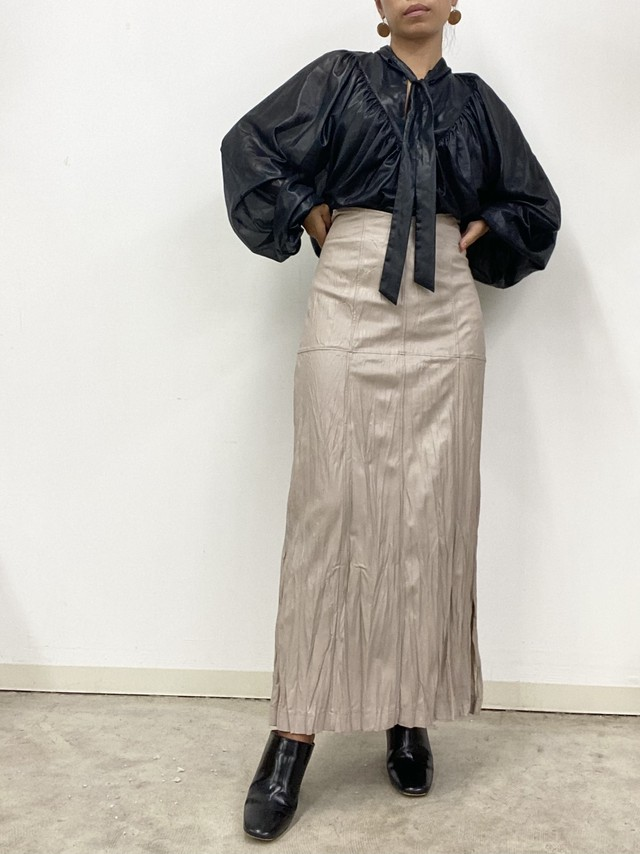 ECO-LEATHER CRINKLE-FIN SKIRT