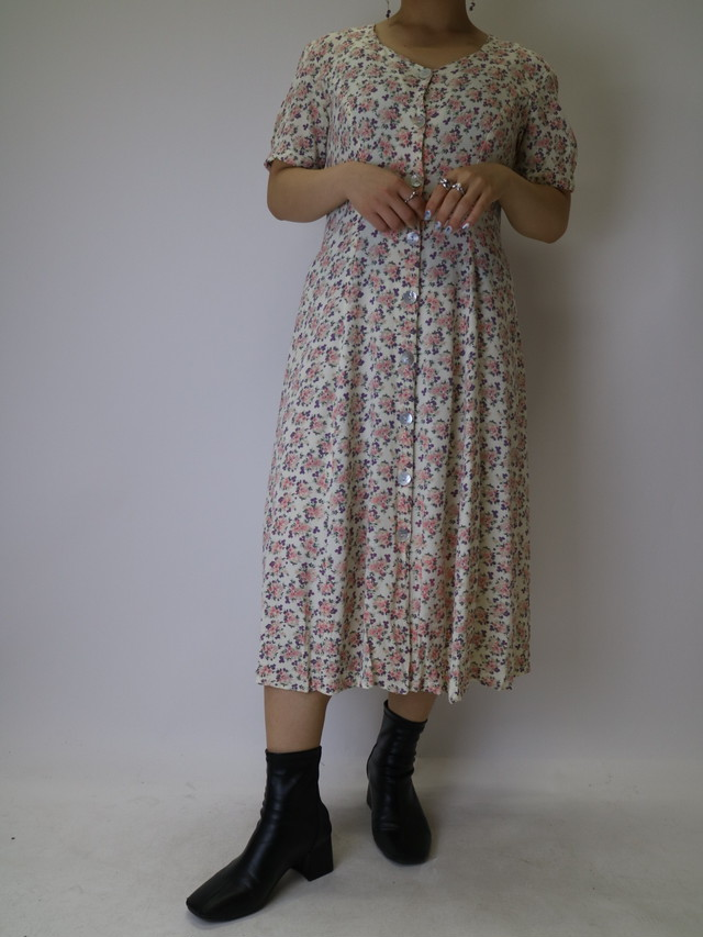 flower pattern lace up dress【1121】