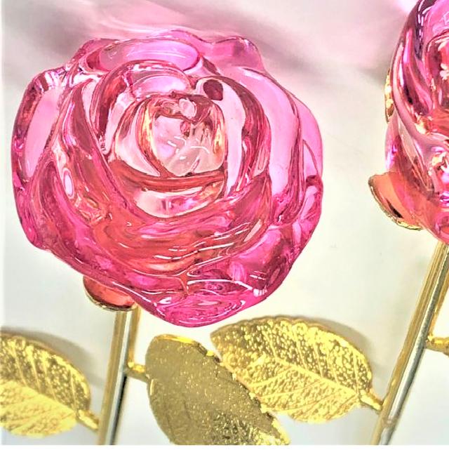 ガラスの薔薇(ピンク大)1本【送料無料】