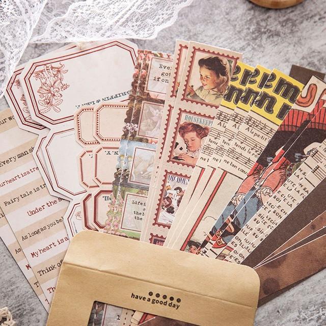 ハンドブックシリーズ  コラージュ素材 全8種 ステッカー シール レトロ ノスタルジック 紙もの H24