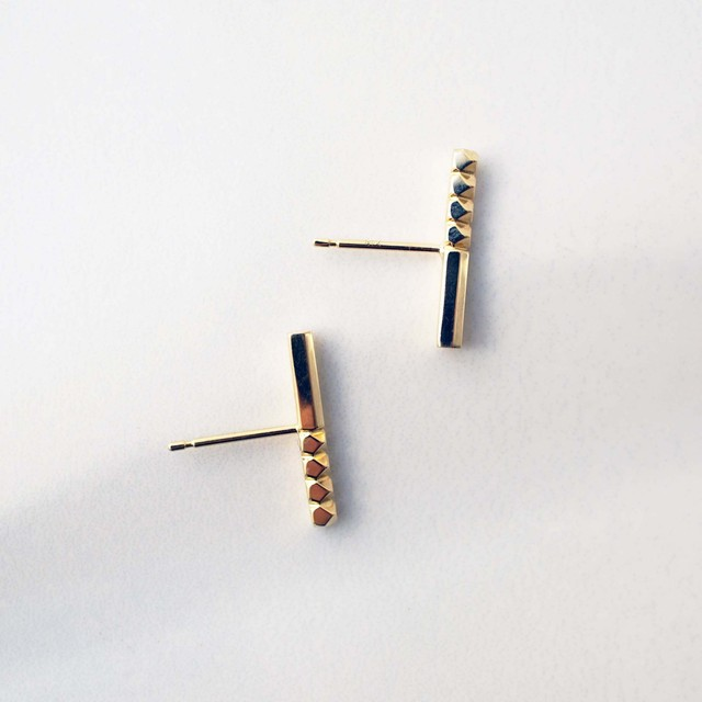 Rock Gold Pierced Earrings / Pair(E260-YG)