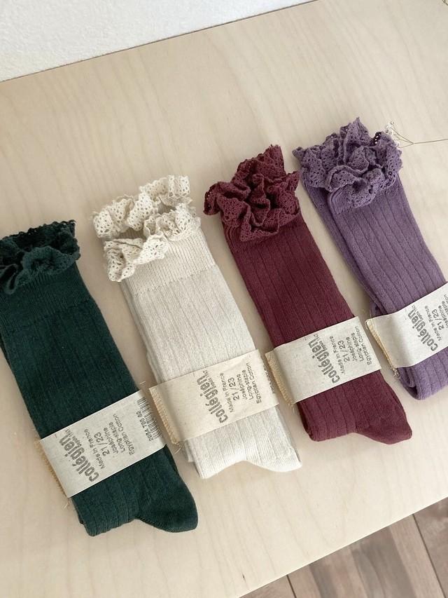 "Lace ribbed socks ""Josephine"" / Collégien"