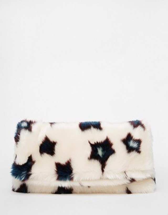 Faux fur Star Fold Over Clutch