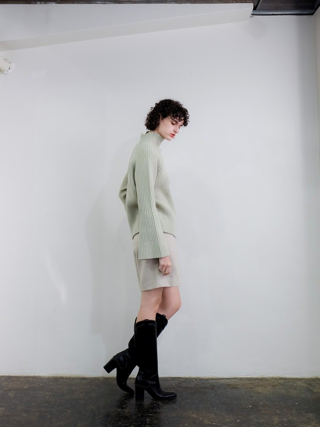 bell sleeve high neck knit(mint)