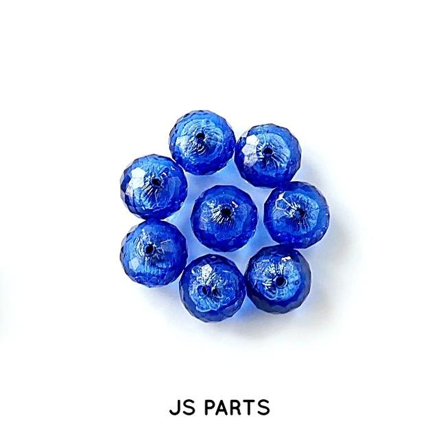 【363b-L1】4pcs 箔入りアクリルビーズ 16×12mm ブルー