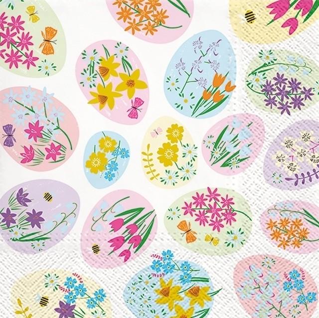 2021春夏新作【TETE a TETE】バラ売り2枚 ランチサイズ ペーパーナプキン Flowered Eggs ホワイト