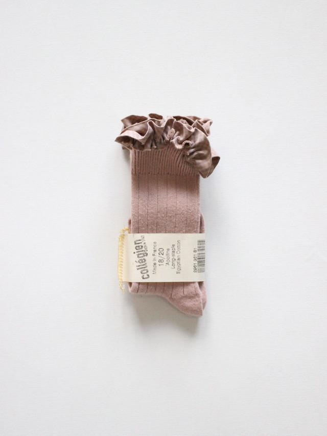 collegien ギンガムTRIM KNEE-HIGHS SOCKS Vieux rose