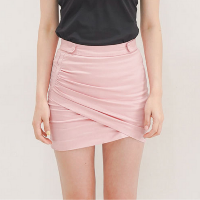 Shirring Wrap Skirt (Pink)