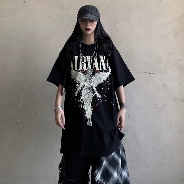 【トップス】ストリート暗黒系ファッション半袖プリントTシャツ28530281