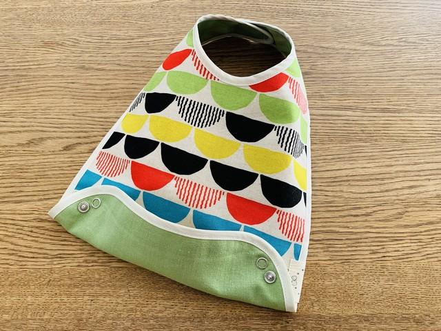 布製お食事スタイ 麻の刺繍デザイン リバーシブル