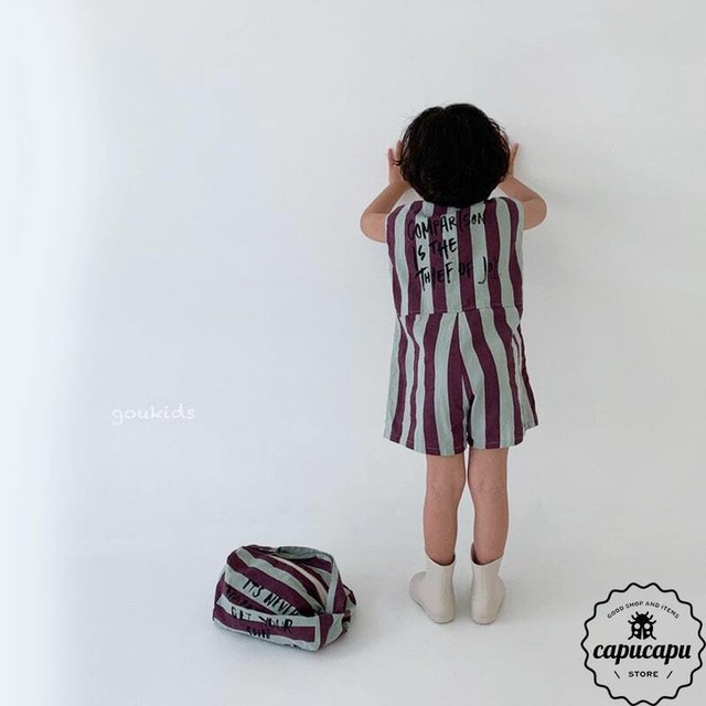 «sold out» striped jumpsuit  2Colors