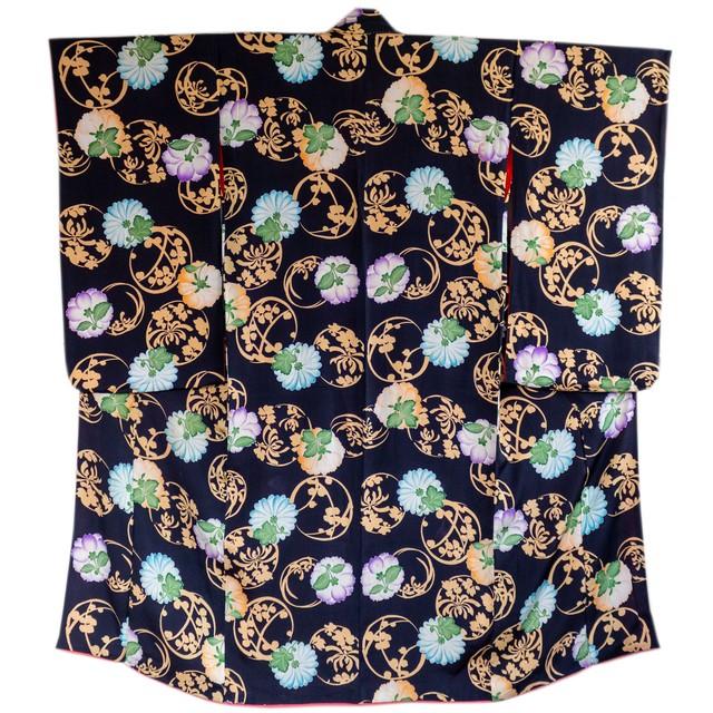 黒地 花裏と花の丸 小紋
