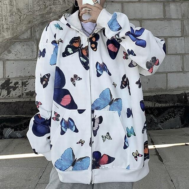 ユニセックス パーカー バタフライ 蝶 ジップアップ 長袖 オーバーサイズ 韓国ファッション メンズ レディース カジュアル ストリートファッション / Trendy hooded butterfly full print loose top (DTC-655102727322)
