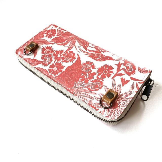 北欧デザイン ストラップホルダー付牛革ラウンド財布 | paradise orange