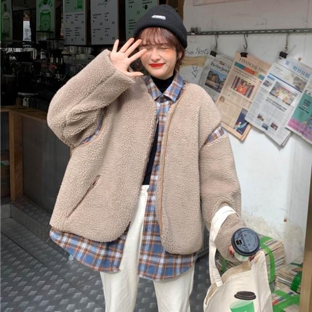 【送料無料】トレンド♪ドッキングカジュアルジャケット♡ジャケット ボア レイヤード風 チェック カジュアル