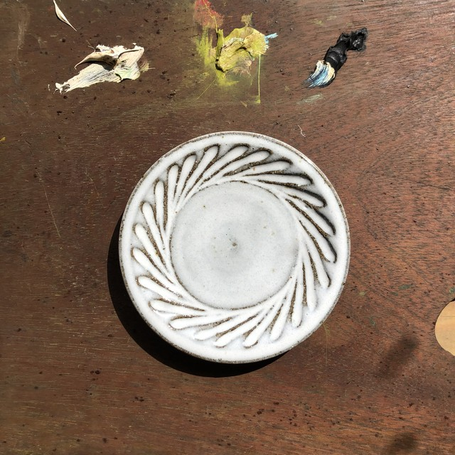 小代瑞穂窯 斜めしのぎ 4寸皿