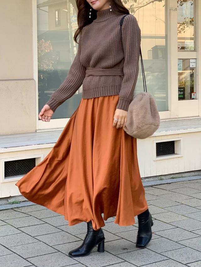【50%OFF SALE】satin long skirt / orange (即納)