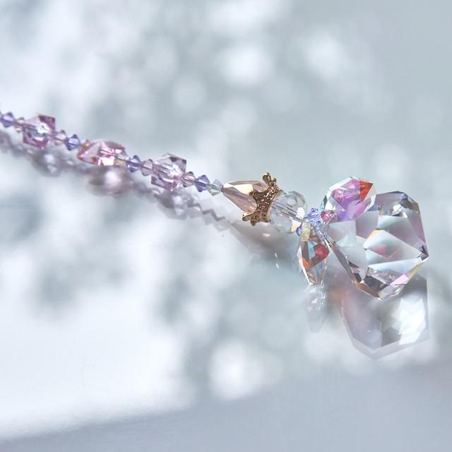 【ピンク系】スワロフスキー ベルトップクリスタルの天使サンキャッチャー