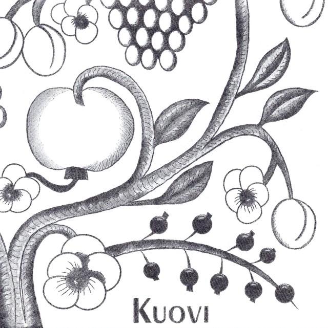 北欧【Kuovi】バラ売り1枚 ディナーサイズ ペーパーリネンナプキン ORCHARD ブラック フィンランド製 ARABIA PARATIISI