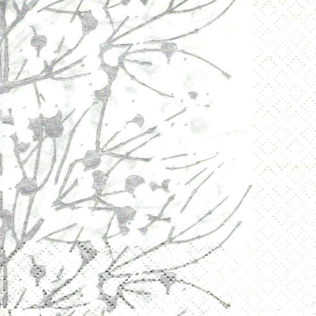 フィンランド製【marimekko】バラ売り1枚 カクテルサイズ ペーパーナプキン LUMIMARJA ホワイト×パールシルバー