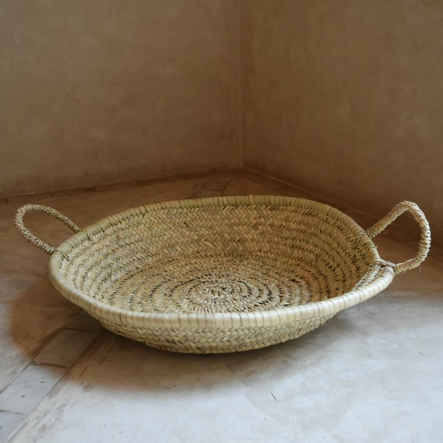 "SØMME / PALM LEAF BASKET with handle ""Size L"""