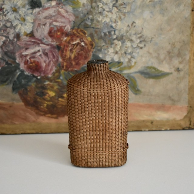 Wicker woven bottle S