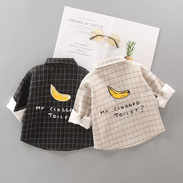 【トップス】チェック柄フルーツコットン男の子カジュアルシンプル折り襟シャツ25880611