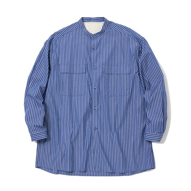 STRIPE BAND COLLOR LONG SLEEVES SHIRT - RANDOM STRIPE