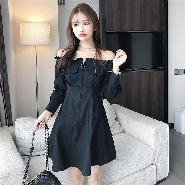 【dress】セクシーワンピースボートベック着やせハイウエスト可愛いドレス