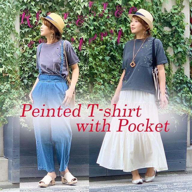 ペインテッドポケット付きTシャツ