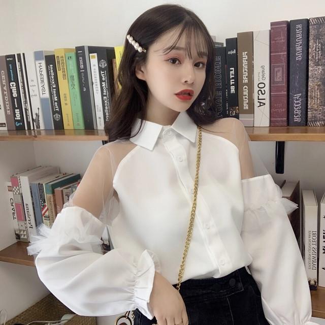 【トップス】韓国系長袖かわいい系透明ファッションシャツ40976834
