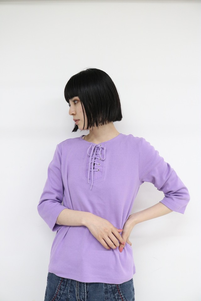 lace up cut and sew tops / 4SSTP23-11