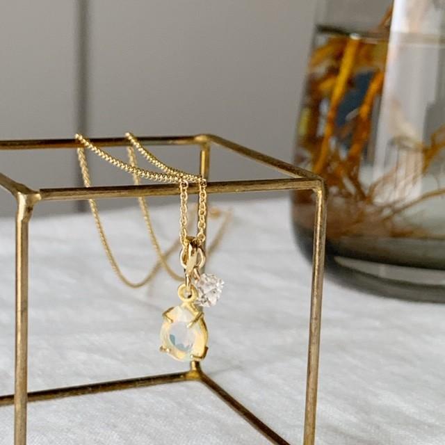 【4月&10月の誕生石】創造力を刺激する「オパール」&ハーキマー・ダイヤモンド(水晶)ネックレス(K14GF)
