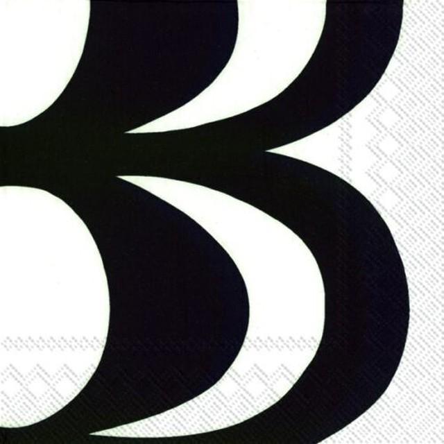 【marimekko】バラ売り1枚 ランチサイズ ペーパーナプキン KAIVO ブラック