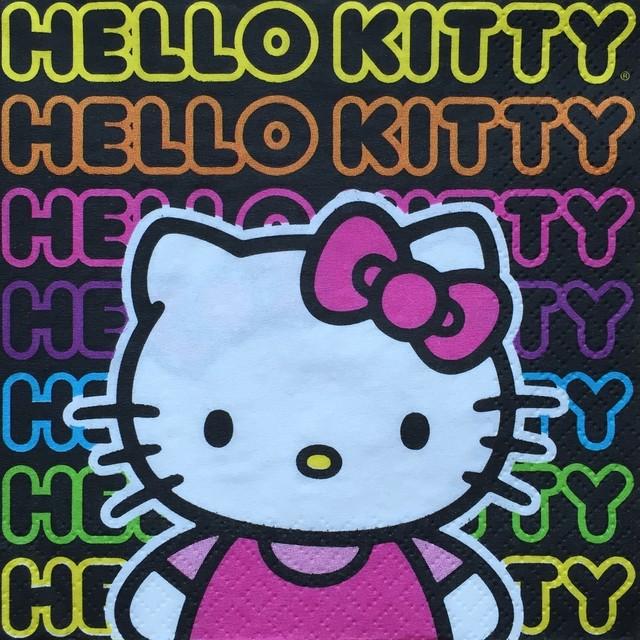 【HELLO KITTY】バラ売り1枚 カクテルサイズ ペーパーナプキン NEON TWEEN ブラック